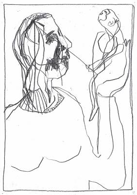 Drawing - Girl Holding A Fishing Monkey by Artist Dot