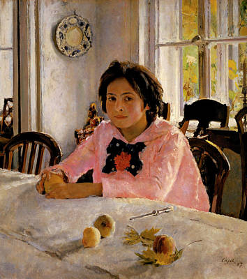 Russian Girl Wall Art - Painting - Girl With Peaches by Valentin Serov