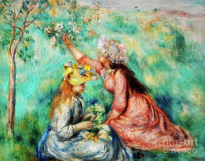 Painting - Girls Picking Flowers In A Meadow by Auguste Renoir