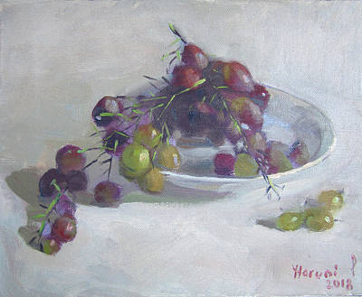 Greek Wall Art - Painting - Greek Grapes by Ylli Haruni