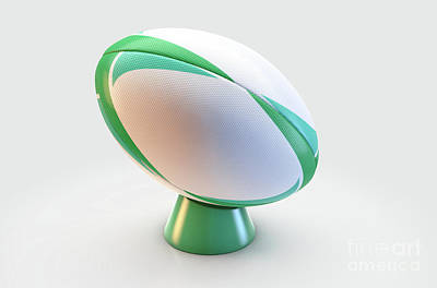 Digital Art - Green And White Rugby Ball by Allan Swart