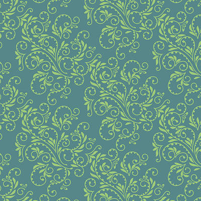 Digital Art - Green Teal Fern Pattern by Garden Gate magazine