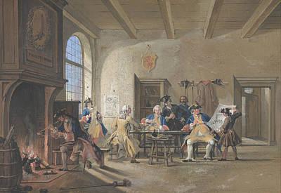 Drawing - Guardroom Scene by Cornelis Troost