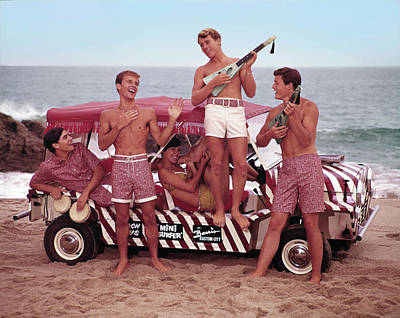 Mode Of Transport Photograph - Guys And Gals On The Beach by Tom Kelley Archive