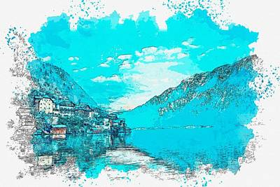 Royalty-Free and Rights-Managed Images - hallstatt, Austria watercolor by Ahmet Asar by Ahmet Asar