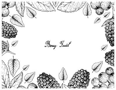 Truck Art Rights Managed Images - Hand Drawn Frame of Canary Beech and Black Mulberries Royalty-Free Image by Iam Nee