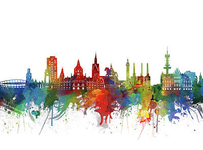 Abstract Skyline Royalty-Free and Rights-Managed Images - Hannover Skyline Watercolor by Bekim M