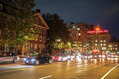 Photograph - Harvard Square Cambridge Ma At Night by Toby McGuire