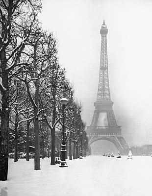 Photograph - Heavy Snow Around The Eiffel Tower.  Ph by Dmitri Kessel