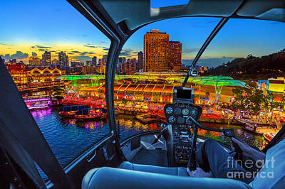 Photograph - Helicopter On Clarke Quay by Benny Marty