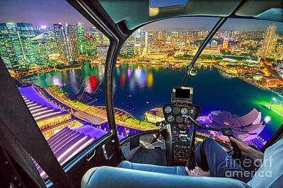 Photograph - Helicopter On Marina Bay by Benny Marty
