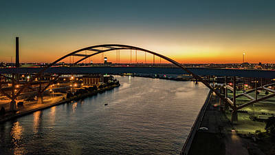 Art Print featuring the photograph Hoan Bridge At Dusk by Randy Scherkenbach