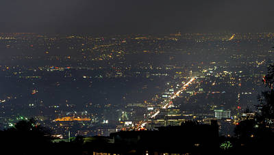 Photograph - Hollywood Hills And Valley At Night Near Hollywood Sign by Alex Grichenko