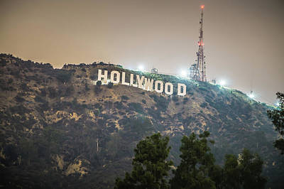 Photograph - Hollywood Sign Lit At Night by Alex Grichenko