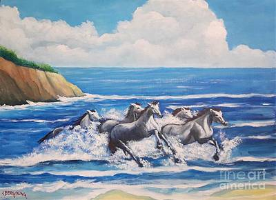 Painting - Horses On A Beach by Jean Pierre Bergoeing