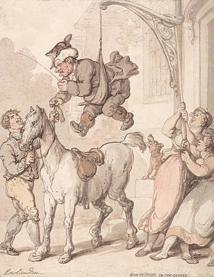 Drawing - How To Vault In The Saddle by Thomas Rowlandson