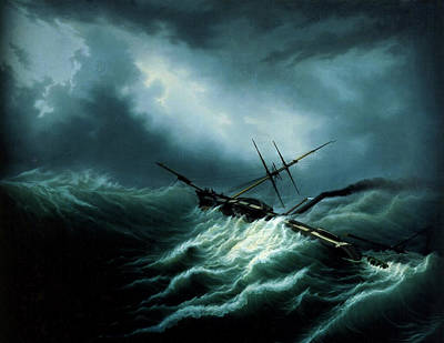 Flounder Painting - Hurricane On The North Sea  by Hubert Sattler