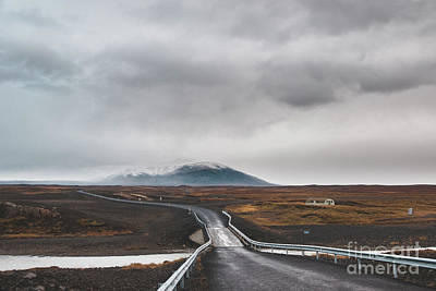 Impressionist Nudes Old Masters - Icelandic lonely road in wild territory with no one in sight by Joaquin Corbalan