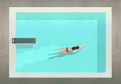 Digital Art - Illustration Of Woman Swimming In Pool by Malte Mueller