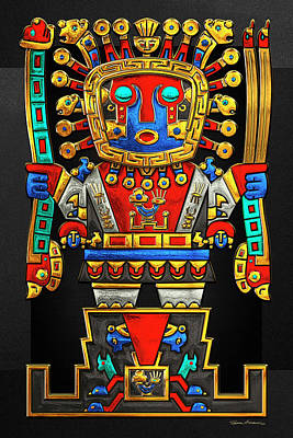 Incan Gods - The Great Creator Viracocha On Black Canvas Original