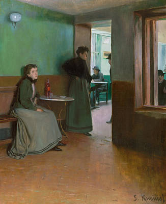 Painting - Interior Of A Cafe by Santiago Rusinol