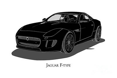 Digital Art - Jaguar F-type - Front View by David Marchal