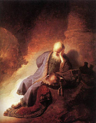 Painting - Jeremiah Lamenting The Destruction Of Jerusalem  by Rembrandt