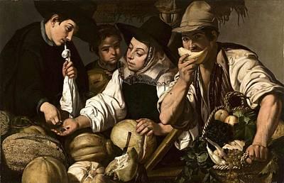 Caravaggio - Jeronimo Jacinto de Espinosa - Vendedores de frutas c.1650 by Celestial Images