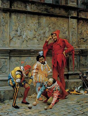 Painting - Jesters Playing Cochonnet by Eduardo Zamacois y Zabala