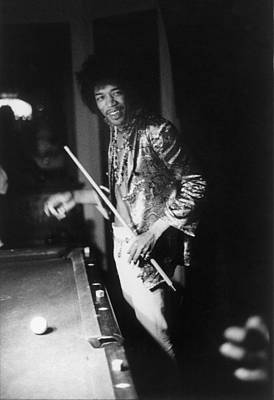 Sports Photograph - Jimi Hendrix Plays Pool by Ed Caraeff/morgan Media