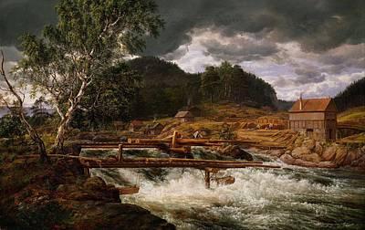 Painting - Johan Christian Dahl Hellefossen Near Hokksund, 1838 by Celestial Images