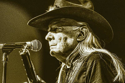 Musicians Drawings Rights Managed Images - Johnny Winter Royalty-Free Image by Deborah Ritch