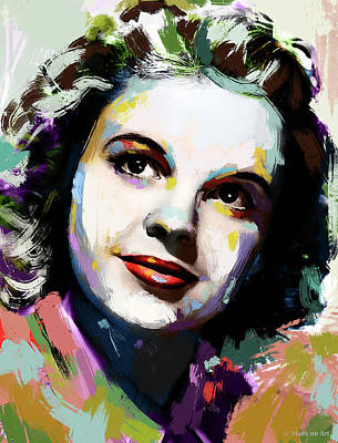 Curated Round Beach Towels - Judy Garland portrait by Stars on Art