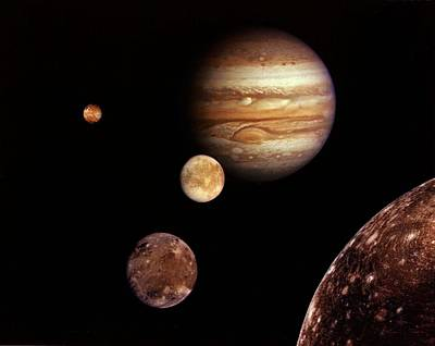 Painting - Jupiter And Its Four Planet-size Moons, Called The Galilean Satellites, by Celestial Images