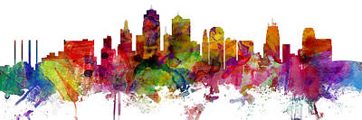 Digital Art - Kansas City Missouri Skyline Panoramic by Michael Tompsett
