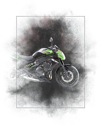 Mixed Media - Kawasaki Er 6n Painting by Smart Aviation