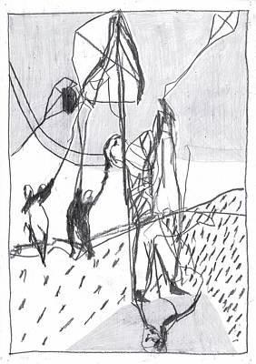 Drawing - Kite Flying by Artist Dot