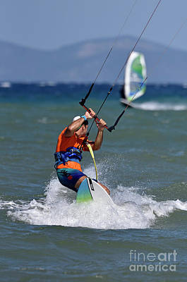Photograph - Kite Surfing And Windsurfing On A Windy Day by George Atsametakis