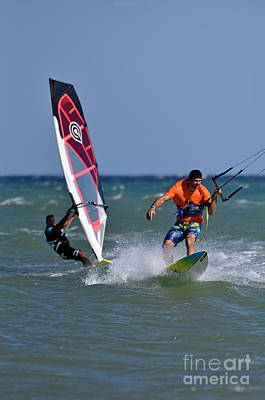 Photograph - Kite Surfing And Windsurfing On A Windy Day I by George Atsametakis