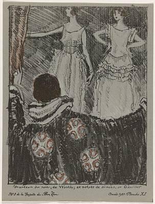 Painting - La Gazette Du Bon Ton, 1921 - No. 3, Pl Ix  Dress Afternoon Beer,. And Evening Dress, Worth. Wearing by Celestial Images