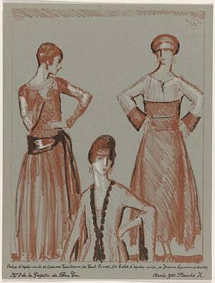 Painting - La Gazette Du Bon Ton, 1921 - No. 3, Pl X  Dress Afternoon And Suit Tailor Paul Poiret Gown And Afte by Celestial Images