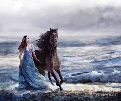 Digital Art - Lady In Blue by Melinda Hughes-Berland