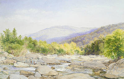 Drawing - Landscape - View On Catskill Creek by John William Hill