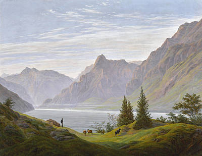 Painting - Landscape With Mountain Lake, Morning by Caspar David Friedrich