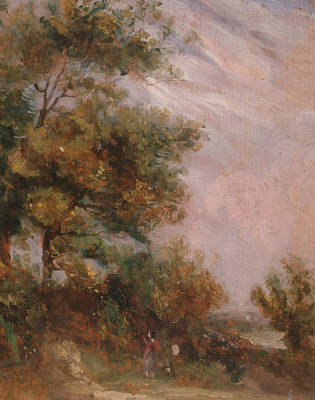 Painting - Landscape With Trees And A Figure  by Thomas Churchyard