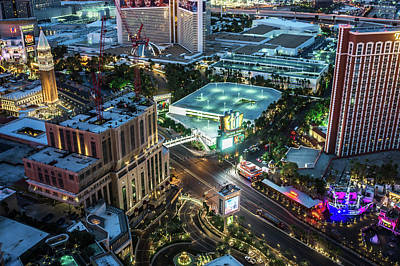 Photograph - Las Vegas Nevada Strip And Surroundings At Night by Alex Grichenko
