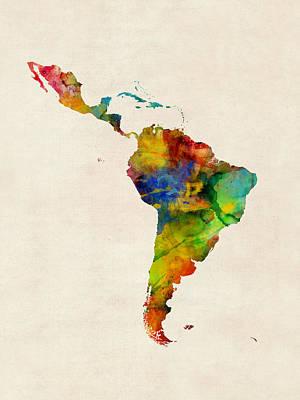 Digital Art - Latin America Watercolor Map by Michael Tompsett