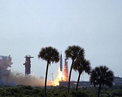Painting - Launch Of Mercury Atlas 9 Rocket by Celestial Images