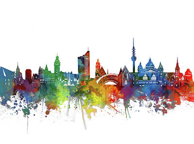 Abstract Skyline Royalty-Free and Rights-Managed Images - Leipzig Skyline Watercolor by Bekim M