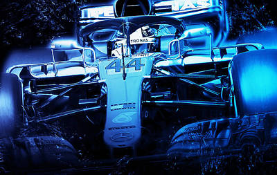 Digital Art - Lewis Hamilton, Mercedes Amg F1 W09 - 10 by Andrea Mazzocchetti